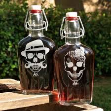 and groom flasks rockabilly his and skull flasks scissormill
