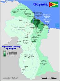 guyana on world map map guyana popultion density by administrative division