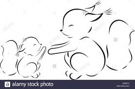 coloring page vector outline drawing squirrel mom and baby stock