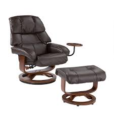 Ottoman Cafe Southern Enterprises Cafe Brown Leather Reclining Chair With