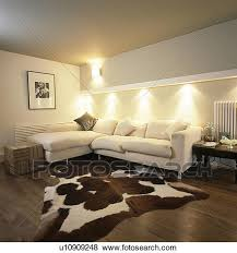 Corner Sofa In Living Room - pictures of artificial cowhide rug in modern living room with