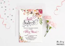 sweet sixteen invitation floral sweet 16 birthday party