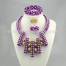beads design necklace images Kj2417 new fashions nigerian purple color beads jewelry sets of jpg