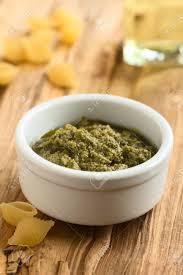 light olive oil pasta sauce pesto alla genovese made of basil garlic olive oil pine nuts