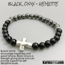 bead bracelet with cross images Spiritual bracelets protection onyx hematite cross reiki jewelry jpg