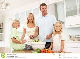 modern family kitchen modern family parents and children cycling stock photo image