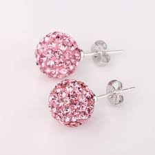 pink earrings buy pink shamballa earrings beautiful quality 8mm swarovski