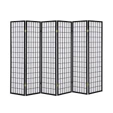 brand new solid timber wooden 6 panel fold screen room divider black