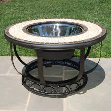 Patio Table Cooler by 36 Inch Umbria Fire Pit U0026 Beverage Cooler Table By Alfresco Home