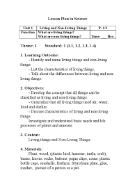 define objective statement lesson plan in science grade 1 unit 1 life abstraction