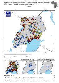 Uganda Africa Map by Distribution Of Schistosomiasis Survey Data In Uganda Global
