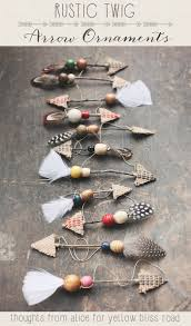 handmade ornaments rustic twig arrows yellow bliss road