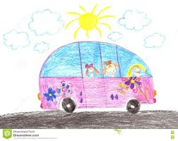 kid car drawing happy children riding in car drawing stock illustration image