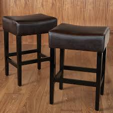 Bar Stools For Kitchen Island by Furniture Dark Leather Backless Bar Stools With Wood Leg Also