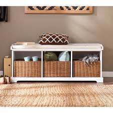 entryway bench with baskets and cushions furniture interesting white wood entryway bench for small spaces