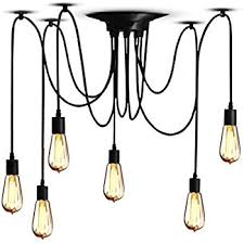 Hanging Bulb Chandelier Amazon Com Veesee 6 Head Industrial Ceiling Spider Lamp Diy E26
