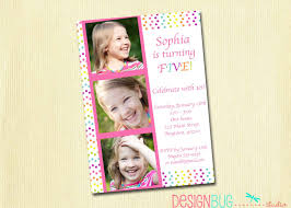 girls rainbow polka dot birthday invitation custom photo