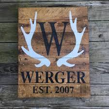 antler family established wooden painted pallet sign deer
