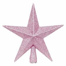 pink christmas tree top star topper glitter finish 20cm by premier