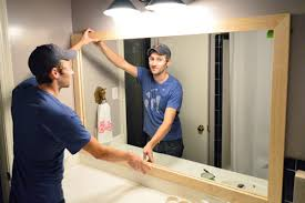 How To Frame A Bathroom Mirror How To Build A Wood Frame Around A Bathroom Mirror Young House Love