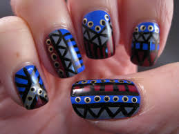 naily perfect blue and grey tribal nail art feat h u0026m blue my mind