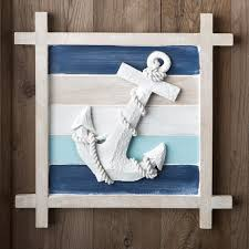blue nautical anchor wall decoration striped background wall