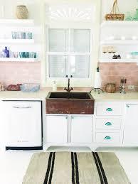 Retro Kitchen Design Kitchen Retro Kitchen Pink Backsplash Copper Sink Farmhouse