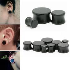 Preferidos 1Pair Black Solid Wood Ear Tunnel Ear Plugs and Gauges Body  #FB63