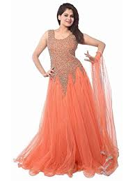 dress image loop women s net gown dress material orange net gown orange