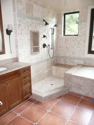 ideas bathroom fantastic open walk in shower with wooden vanity
