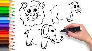 learn to draw safari animals compilation teach drawing for kids