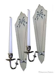 Mirror Sconce Pair Venetian Etched Mirror Wall Sconce Candle Holders St4nd003