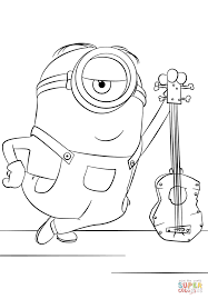minion stuart with guitar coloring page free printable coloring