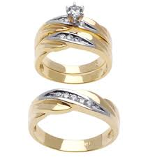 wedding ring trio sets 59ct tcw 14k two tone gold trio ring set 9002703 shop at