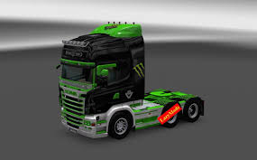 scania rjl v8 monster energy skin lazymods ets 2 euro truck