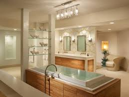 bathroom three light ceiling lights with ribbed opal bathroom glamorous ceiling lights crystal acrylic alongside white tub and one chair beige