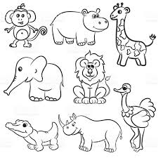 cute outlined zoo animals collection stock vector art 621935426