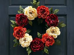 fall front door wreath thanksgiving wreath fall floral wreath