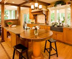outstanding glossy natural brown kitchen island with seating and