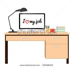 Business Computer Desk Computer Desk On White Background Workplace Stock Vector 350566019