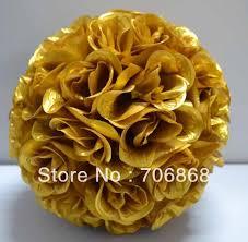 Flower Ball Aliexpress Com Buy Gold Color Artificial Silk Kissing Rose