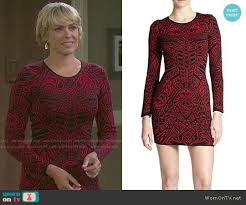 nichole on days of our lives with short haircut nicole s red and black patterned long sleeve dress on days of our