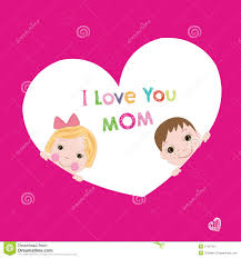 i love you mom with children mother u0027s day greeting card stock