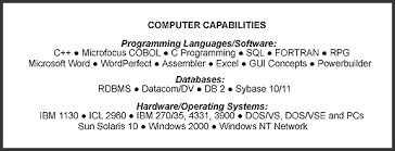 examples of resume computer skills