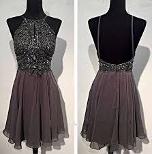 bg100 short prom dress grey chiffon prom dress open back