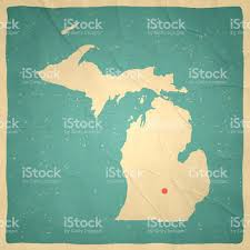 Lansing Michigan Map by Michigan Map On Old Paper Vintage Texture Stock Vector Art