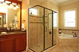 bathroom recomended master decorating ideas luxury modern master bathroom glass enclosed shower area dark finished furniture windows cream walls white