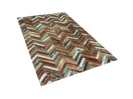 Cowhide Rug Patchwork Rug Carpet Cowhide Rug Patchwork 80x150 Cm Brown Blue