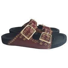 burgundy leather isabel marant sandals vestiaire collective