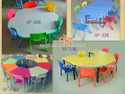 Kids Wood Table And Chair Set C Shape Children Table And Chair Set Hand Painted Kids Table And
